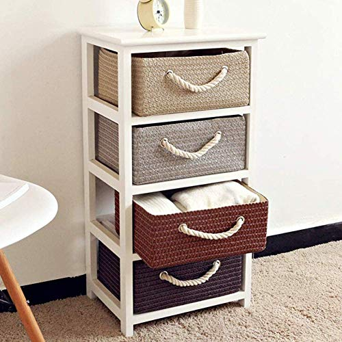 Wicker Storage Side Table,Wooden Nightstand With Rattan Baskets For Bedroom,Sturdy Bedside End Table 3-tier For Living Room Bedroom A 40x30x60cm