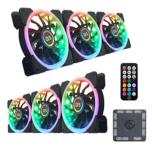 MIWATT Regenbogen Series Gehäuse lüfter, ARGB LED 120mm Fans, Quiet Edition PC Kühlung Lüfter,mit RGB LED Licht,für PC Gehäuse (6 Stücke Pack)