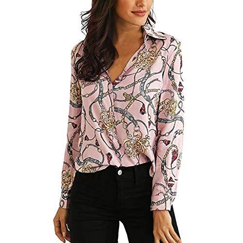 BeautyTop Hemd Damen Elegant Frauen Langärmliges Hemd mit Kettenmuster Herbst Winter Lässigem Tops Basic Bluse Stilvoll und Elegant Gedruckt Oberteile