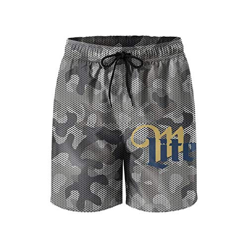 jdadaw Men's Beach Shorts Miller-Lite-Beer- Summer Quick Dry Swimming Pants