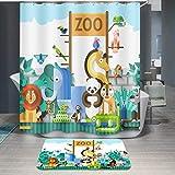 BRZM Praktisches Home Supplies Badezimmer Zubehör 1 STÜCK Cartoon Tierdruck Duschvorhang Zoo Wasserdicht Polyester Bad Vorhang (Größe : 180 * 180cm)