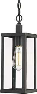 Odeums Outdoor Pendant Lantern, Exterior Pendant Hanging Lights, Pendant Lighting Fixture in Black Finish with Clear Glass