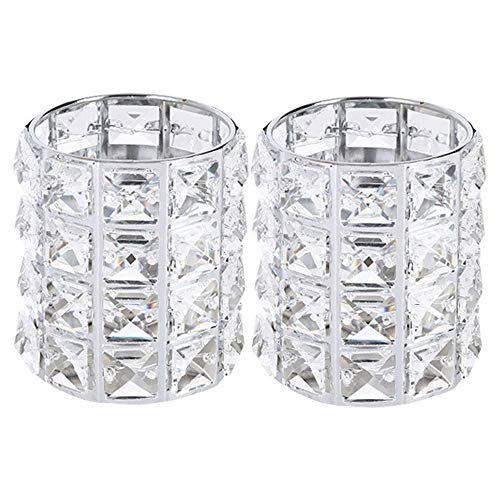 Jkhome Crystal Makeup Brush Holder Organizer Cosmetic Storage Cylinder Crystal Tealight Candle Holder Candlestick Pen Holder (Silver+Silver, 2 Set)