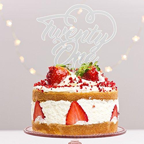 Décoration de gâteau « Twenty One 21 » en plastique acrylique pour fête d'anniversaire 20 ans Décoration alimentaire Transparent