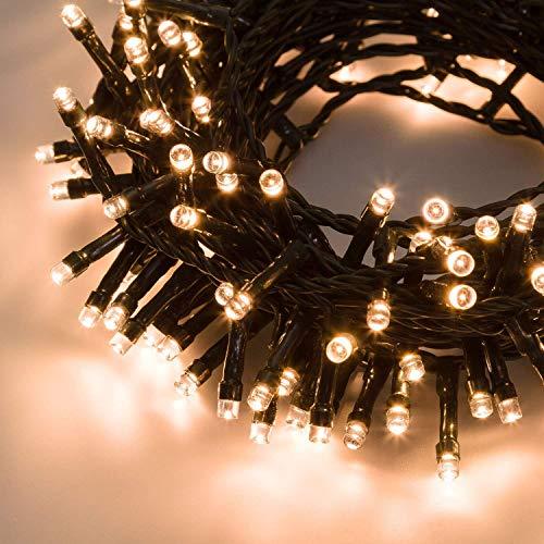 PREQU' Serie Luci di Natale 180-300-480-720 LED EST./INT. IP44 Catena Alta Luminosità (Luce Calda - Filo Verde, 480 LED)
