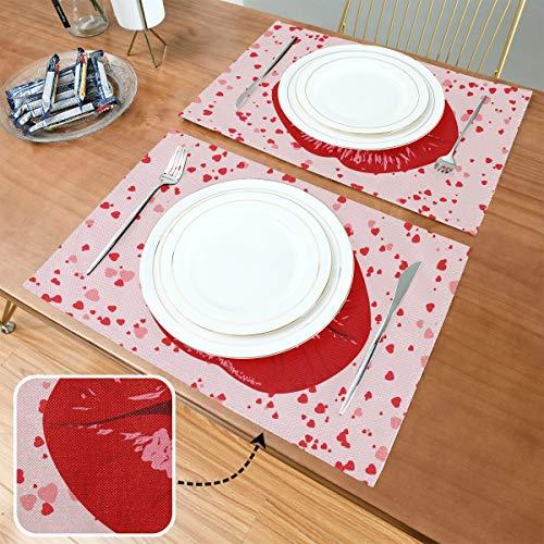 Set de Table Lips Womenkissmouthlip Pop Art Heart Valentines, Tapis de Table antidérapants résistants à la Chaleur, adaptés à la Table à Manger à la Maison, au Bureau et à l'extérieur, Lot de 6