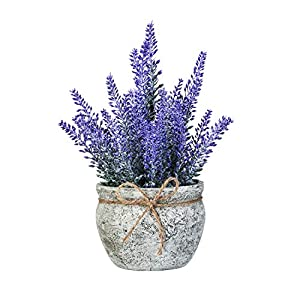 Silk Flower Arrangements Artificial Mini Potted Flowers Plant Lavender for Home Decor Party Wedding Garden Office Patio Decoration (Grey Ceramics)