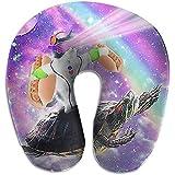 Forma De U Almohada,Cat Ride Turtle con Burger Rainbow En Galaxy Soporte para El Cuello Almohada para La Cabeza,Funda Lavable para El Cuello Almohada para Tren,Automóvil,Cama,Autobús,Oficina,Avión