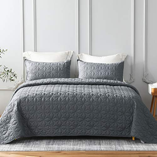 Whale Flotilla Quilt Set King Size, Soft Microfiber Lightweight Bedspread Coverlet Bed Cover (Star Pattern) for All Seasons, Dark Grey, 3 Pieces (Includes 1 Quilt, 2 Shams)