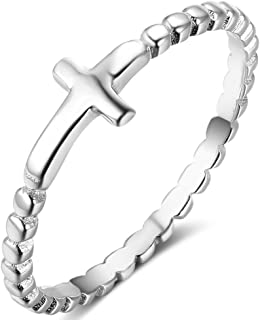 Stainless Steel Christian Sideways Cross Religious Ring Promise Statement Wedding Engagement