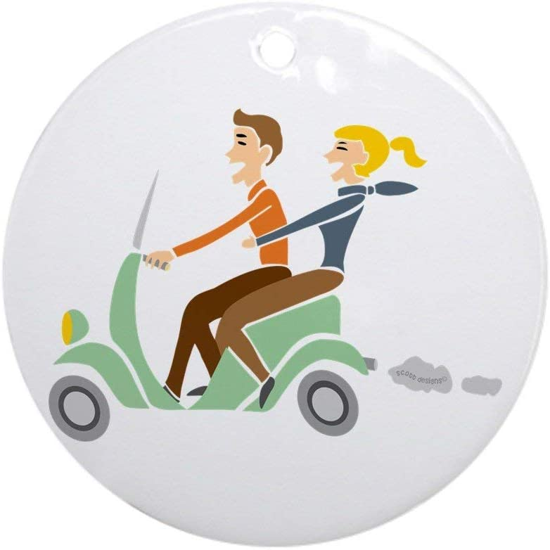 EaYanery Scooter Retro Couple Ornament (Round) Round Holiday Christmas Ornament Xmas Gifts Christmas Tree Ornaments Ideas 2019
