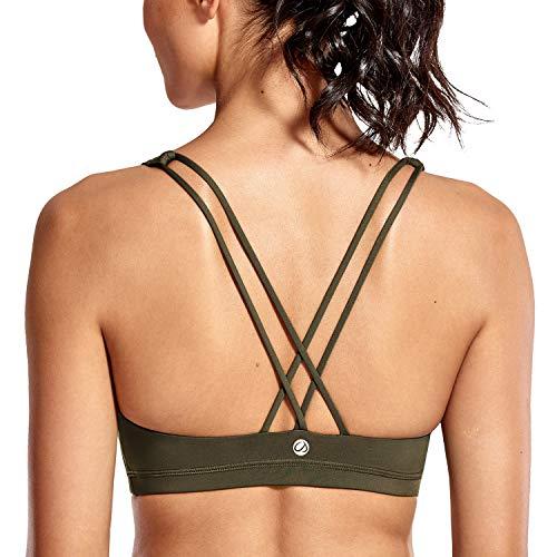CRZ YOGA - Sujetador Deportivo Yoga Cruzados Espalda Sin Aros para Mujer Amarilla Oliva XS