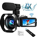 4K Camcorder Video Camera Ultra HD WiFi Camcorders with Microphone Digital Camcorder 48.0MP