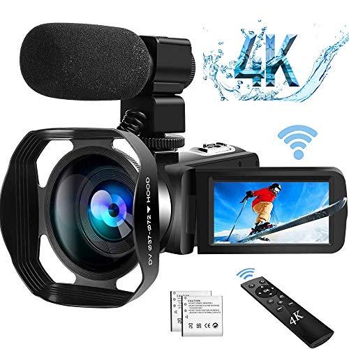 Videocamera 4K Videocamere WiFi Ultra HD con Microfono Videocamera Youtube Videocamere 48.0MP IR per Visione Notturna Vlogging Zoom Digitale 18X Touch Screen da 3,0 Pollici con Paraluce