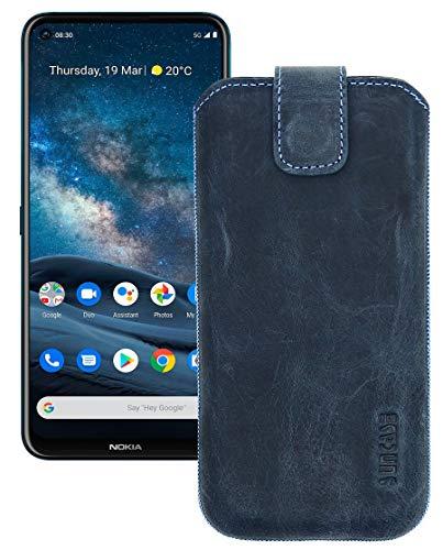Suncase Etui Tasche kompatibel mit Nokia 8.3 5G Hülle mit ZUSÄTZLICHER Hülle/Schale/Bumper Lasche mit Rückzugfunktion Handytasche Ledertasche Schutzhülle in Pebble-Blue