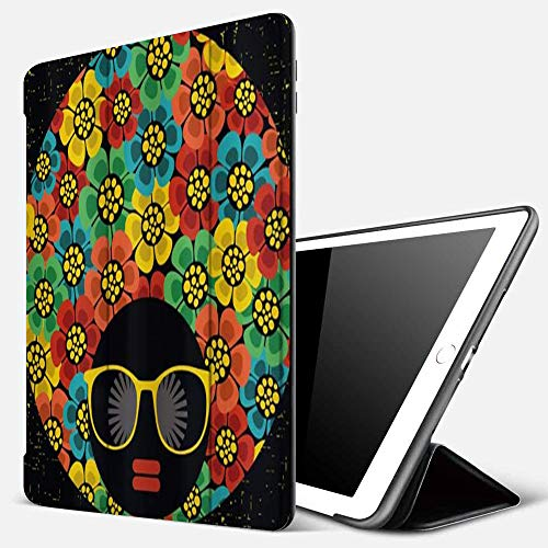 Qinniii Carcasa con Magnetic Auto-Sueño,Retrato de Mujer Abstracta Estilo de Pelo con Flores Coloridas Gafas de Sol Labios,Ligéra Protectora Suave Silicona TPU Smart Cover Case para iPad 5./6.