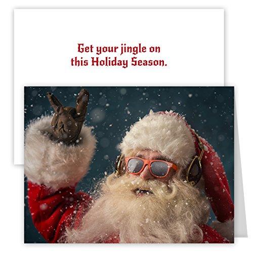Rock 'n Roll Santa Holiday Card Pack - Set of 25 cards - 1 design, versed inside with envelopes