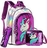 Girls Unicorn Reversible Sequin Backpack Set Magic Glitter Lightweight School Bookbag for Girls Kids Bling Backpack with Lunch Box