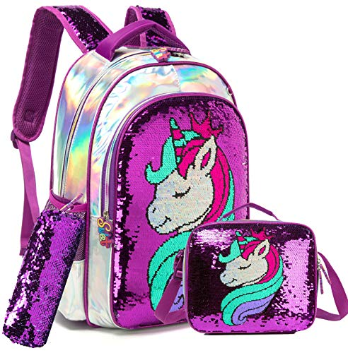 Girls Unicorn Reversible Sequin Backpack Set Magic Glitter Lightweight School Bookbag for Girls Kids Bling Backpack with Lunch Box