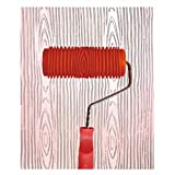 Wood Graining Painting Tool, Rubber Empaistic Wood Texture Pattern Roller with Handle, DIY Wood Grain Painting Tool Household Wall Art Paint for Wall Room Decoration