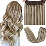 LaaVoo Halo Hair Extensions Highlight Light Brown Mixed Platinum Blonde Real Hair Halo Extensions Highlight Blonde Remy Halo Couture Human Hair Extensions Blonde Hidden Crown for Women 20' 100g
