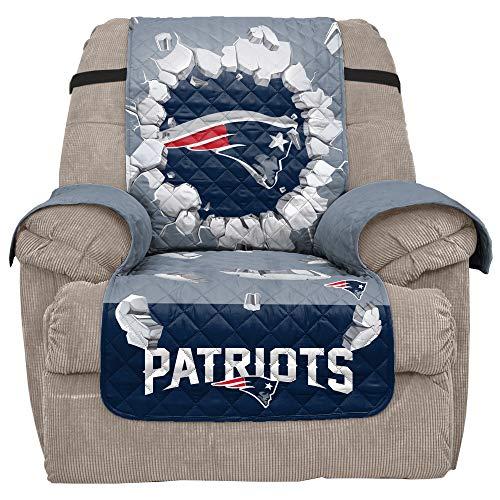 Pegasus Sports Official NFL Team Furniture Cover, Reversible (Recliner - Patriots) 65'' x 80'' 3D Recliner Protector