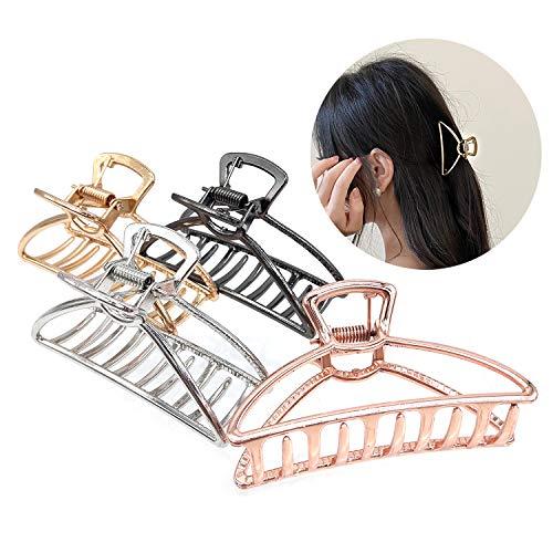 4 Pinzas de Pelo Grandes de Metal Diseño Hueco Compacto y Ligero Adecuado Para Arreglar El Cabello Largo y ondulado de Damas