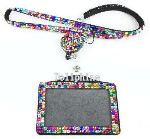 Multi-Colors Rhinestone set LANYARD, Retractable Reel and Horizontal Badge Holder (Rainbow)