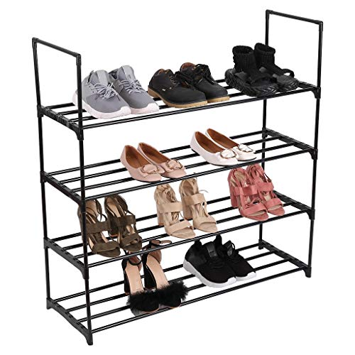 HADST Premium 4-Tier Shoe Rack,35.4 Inch Thick-Frame Shoe Storage Organizer, Metal Shoe Shelf, 25-30 Pairs Shoes Boots, Stackable Shoe Tower for Living Room, Entryway, Hallway, Closet