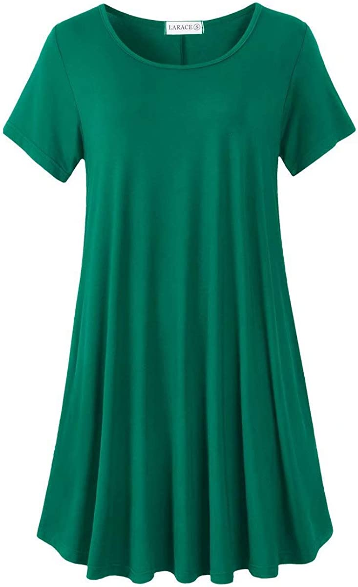 LARACE Plus Size Dresses for Women Casual Summer T-Shirt Dress with Pockets Swing Tunic Short Sleeve Sleepwear