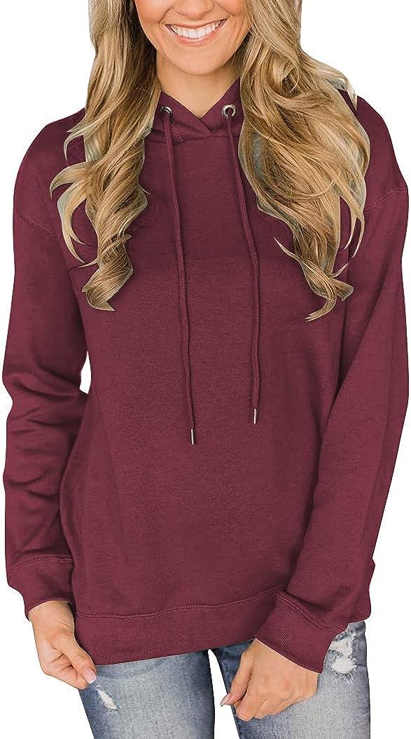 Vivitulip Women's Casual Hoodies Solid Lightweight Long Sleeve Pullover Tops Loose Sweatshirts