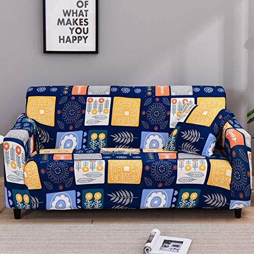 WXQY Funda de sofá elástica geométrica para Sala de Estar, Funda de protección para sofá de Esquina en Forma de L, Funda de sofá Antideslizante combinada A26, 3 plazas