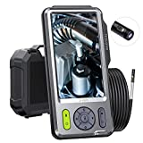 Inspection Camera with 5-inch HD IPS Screen, 5mm Dual Camera, Teslong Borescope-Endoscope Camera, 16.4ft Waterproof Cable with 6 LED Lights, Snake Camera with Flashlight, 32GB, Travel Case, 3500mAh