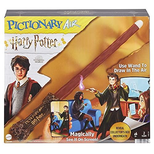  PICTIONARY AIR Harry Potter Family Drawing Game, Zauberstab, 112 doppelseitige Hinweiskarten mit Bild Bonus Hinweisen