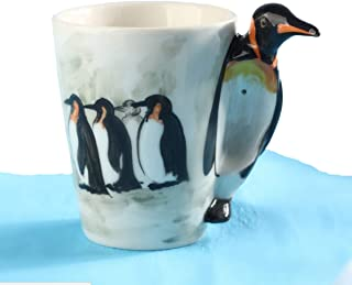3D Hand-painted Cute Animals Mug,Ceramic Coffee Mug,Novelty Gift Cup (13.66oz) (Penguin)