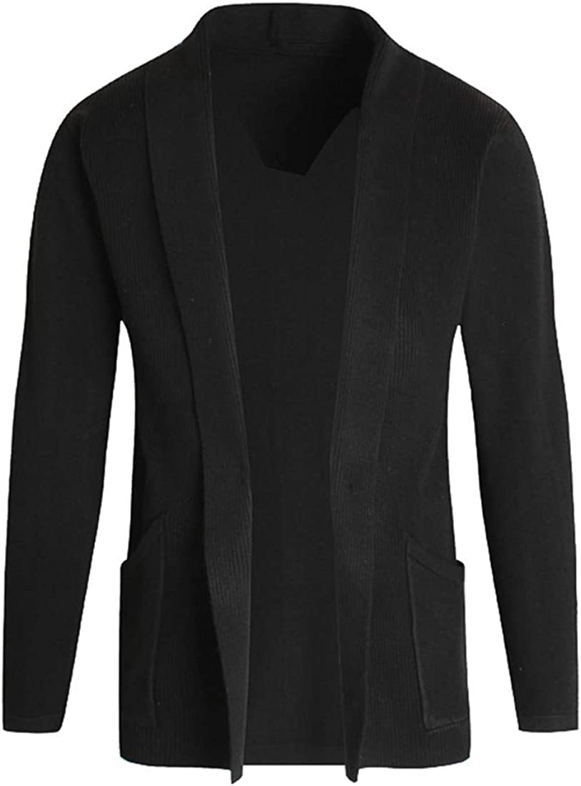 ONLYWOOD Men's Open Front Lightweight Thin Long Sleeve Sweater Blanket Cardigan
