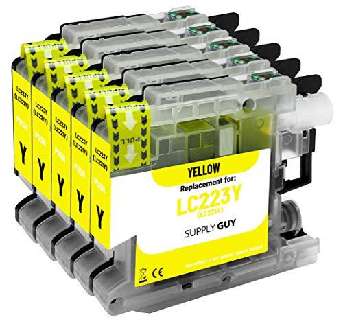 Supply Guy 5 Druckerpatronen kompatibel mit Brother LC223 LC-223XL LC-225 LC-227 Gelb mit Chip und Füllstandsanzeige für MFC-J5320DW MFC-J5620DW MFC-J480DW DCP-J4120DW DCP-J562DW und weitere