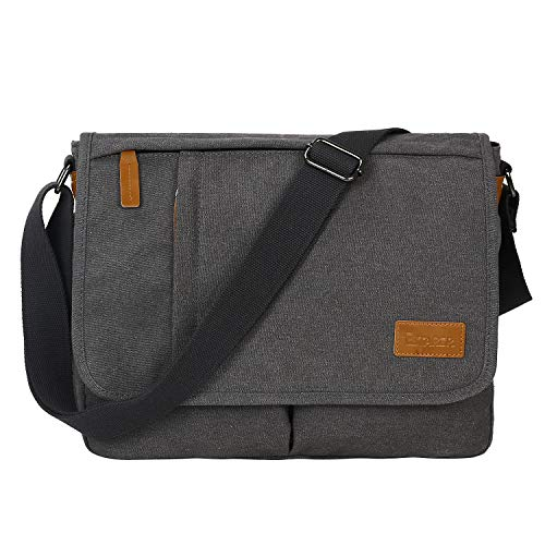 Estarer Laptop Bag 14 Inch Mens Water Resistant Messenger Shoulder Bag Lightweight Grey