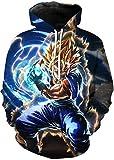 FLYCHEN Sudadera con Capucha para Hombre con 3D Digital Impreso Dragon Ball Goku Super Saiyan Azul...