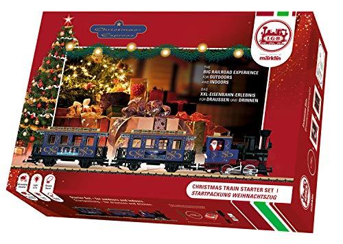 LGB – Startset Weihnachtszug 230 Volt  – allwettertaugliche Gartenbahn, Oldtimerzug, Modelleisenbahn, Dampflok mit Personenwagen, Spur G, Zuglänge 85 cm