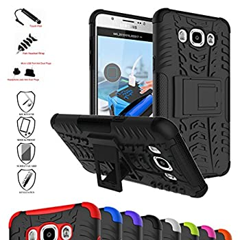 Galaxy J7 2016 Case,Mama Mouth Shockproof Heavy Duty Combo Hybrid Rugged Dual Layer Grip Cover with Kickstand for Samsung Galaxy J7 J710 2016 Smartphone with 4 in 1 Packaged ,Black