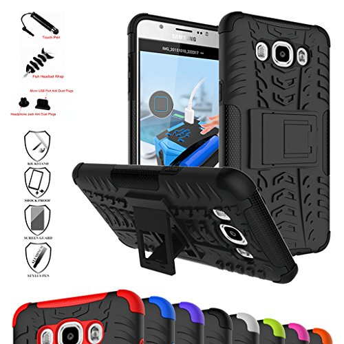 MAMA MOUTH Galaxy J7 2016 Custodia, Duro Shock Proof Copertura Rugged Heavy Duty Antiurto in Piedi Custodia Caso Case per Samsung Galaxy J7 J710 2016 Smartphone,Nero