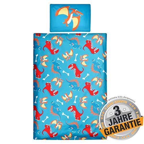 Aminata Kids Kinderbettwäsche Dino-Motiv Dinosaurier 100-x-135 Junge - für Jungen, Jungs - Kinder-Bettwäsche-Set Baumwolle mit Reißverschluss, hell-blau, rot Kinder-Bett - Bettbezug - T-Rex Jurassic