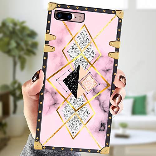 Square Case Compatible iPhone 7 Plus iPhone 8 Plus Case Geometric Pink Gold Marble Luxury Elegant Soft Shock Protection Case Cover Compatible iPhone 7 Plus/8 Plus 5.5 Inch
