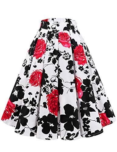 bridesmay Damen Rockabilly Rock A-Linie Vintage Retro Faltenrock Midi Swing Röcke mit Taschen White Red Flower XS