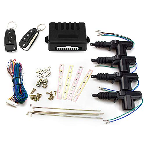 Eunavi Universal Car Auto Remote 4 Door Bracket Keyless Entry System Car Power Door Lock Rotation Central Locking Alarm Security Kit