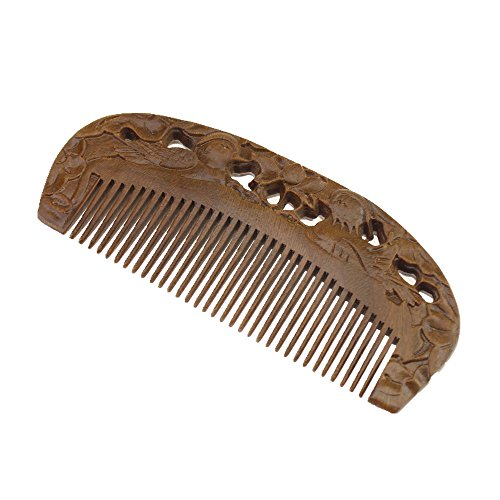 Escomdp Hand Carved Wood Beard Hair Comb with A Couple Mandarin Duck Pattern Green Sandalwood