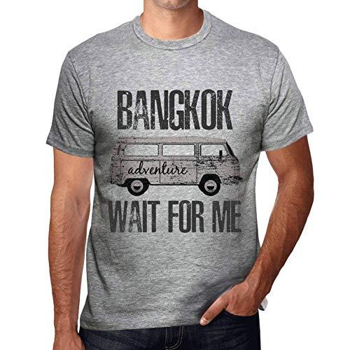 One in the City Hombre Camiseta Vintage T-Shirt Gráfico Bangkok Wait For Me Gris Moteado