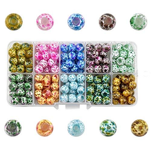 Jinlaili 200 Stück Armbänd Perlen, 5mm Perlen Zum Auffädeln, Bunt Rund Bastelperlen, Lose Perlen mit 10-Gitter Aufbewahrungsbox, Mini Glasperlen für DIY Armband Schmuck Basteln (Frostblume)
