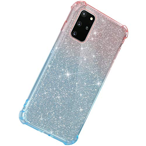 Herbests Kompatibel mit Samsung Galaxy S20 Plus Hülle Durchsichtig Farbverlauf Glänzend Kristall Glitzer Transparent TPU Silikon Handyhülle Ultradünn Stoßfest Bumper Case Schutzhülle,Rot Blau